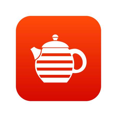 Striped teapot icon digital red
