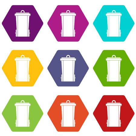 Garbage bin icon set color hexahedron Illustration