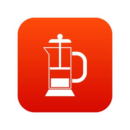 French press coffee maker icon digital red
