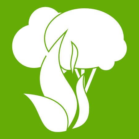 conflagration: Burning forest trees icon green
