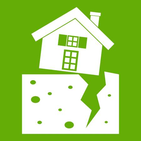 devastation: House after an earthquake icon green Illustration