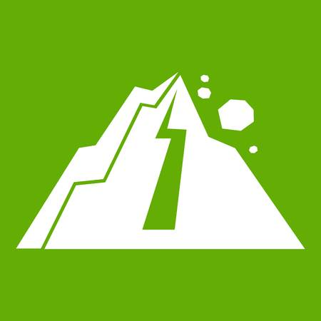 Rockfall icon white isolated on green background. Vector illustration
