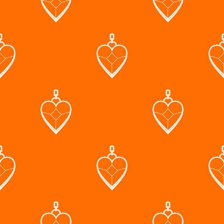 Heart shaped pendant pattern repeat seamless in orange color for any design. Vector geometric illustration Stok Fotoğraf - 88067334