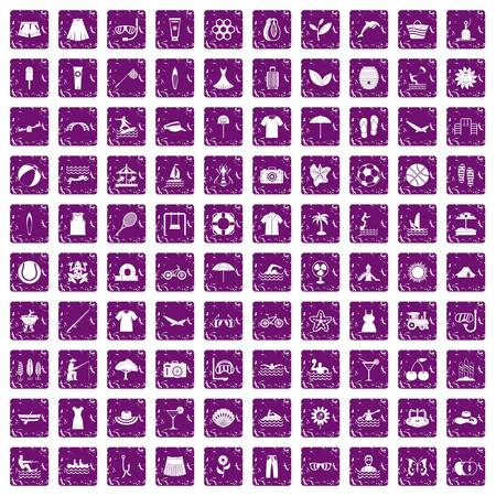 100 summer icons set in grunge style purple color isolated on white background vector illustration