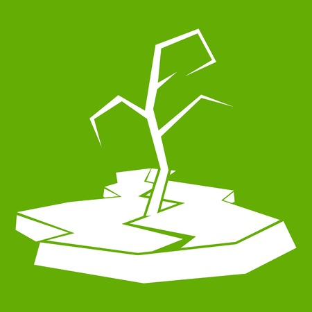 Drought icon white isolated on green background. Vector illustration Illustration