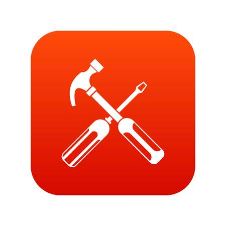 Hammer and screwdriver icon digital red for any design isolated on white vector illustration Illustration