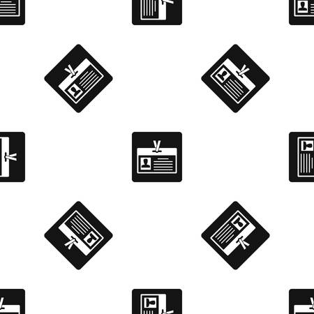 Identification card pattern repeat seamless in black color for any design. Vector geometric illustration