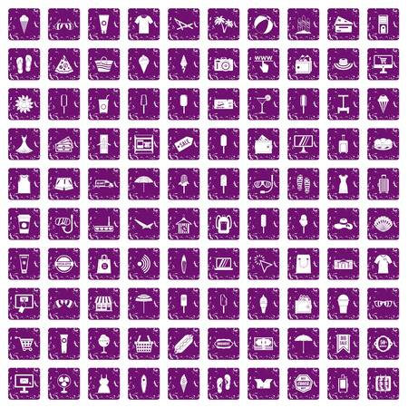 100 summer shopping icons set in grunge style purple color isolated on white background vector illustration