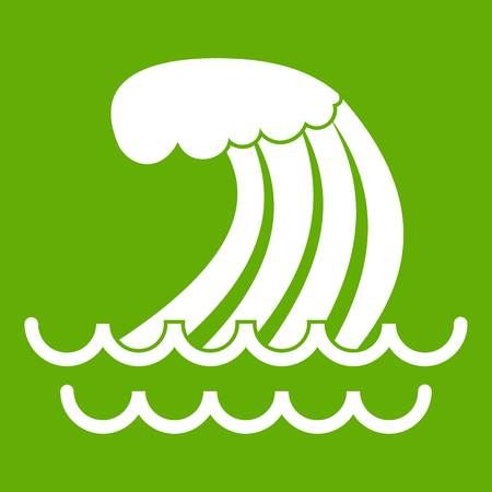 Tsunami wave icon white isolated on green background. Vector illustration