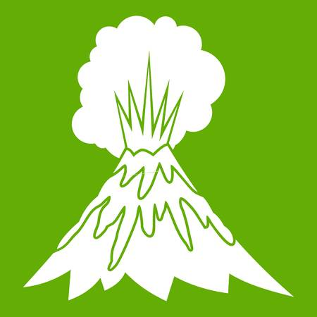 Volcano erupting icon white isolated on green background. Vector illustration