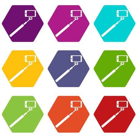 handphone: Selfie stick and smartphone icon set color hexahedron