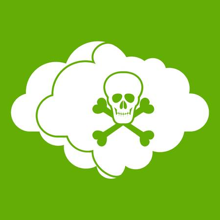 Cloud with skull and bones icon green