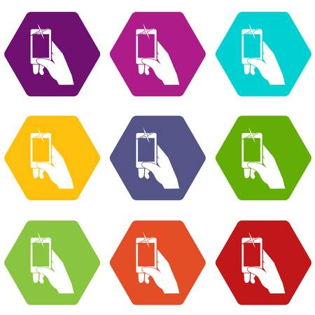 Hand taking pictures on cell phone icon set color hexahedron