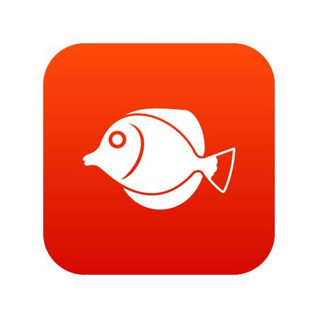 Tang fish, Zebrasoma flavescens icon digital red