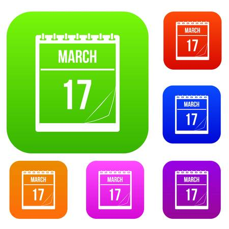 Calendar with date of March 17 set color collection