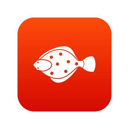 Flounder fish icon digital red