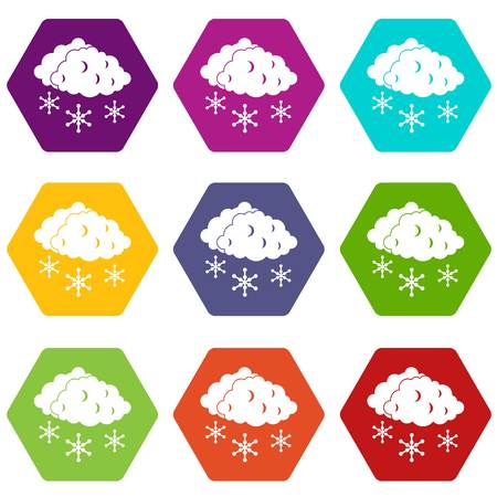 sleet: Clouds and snow icon set color hexahedron
