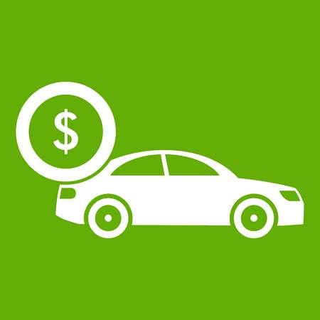 Car and dollar sign icon green