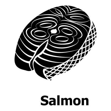Salmon icon, simple black style
