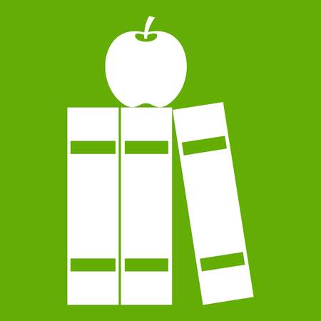 Stack of books and apple icon green Illustration