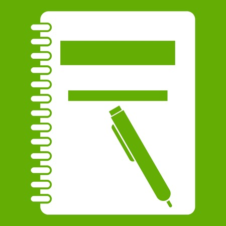 Closed spiral notebook and pen icon white isolated on green background. Vector illustration
