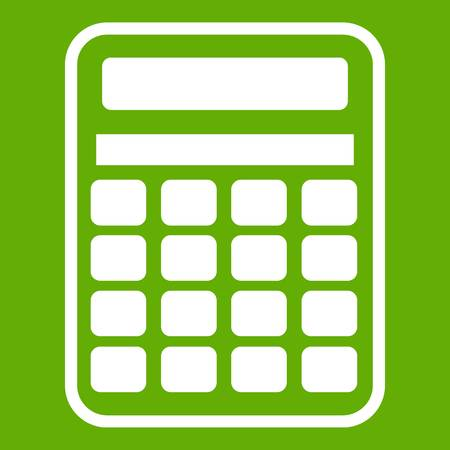 Calculator icon white isolated on green background. Vector illustration