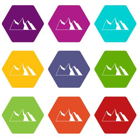Mountains icon set many color hexahedron isolated on white vector illustration