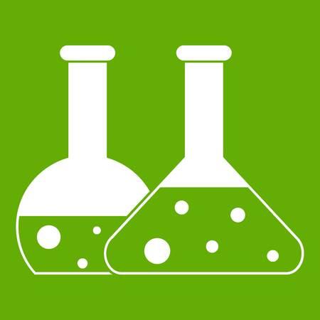 Transparent flasks icon white isolated on green background. Vector illustration Illustration