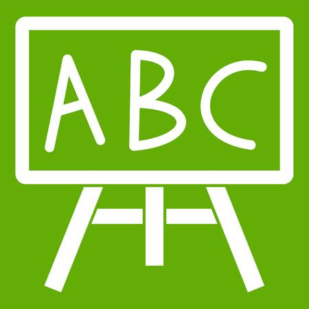 Chalkboard with the leters ABC icon white isolated on green background. Vector illustration