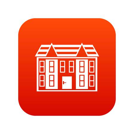 Large two-storey house icon digital red for any design isolated on white vector illustration