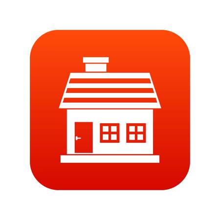 One-storey house icon digital red for any design isolated on white vector illustration