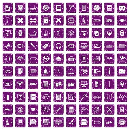 100 training icons set in grunge style purple color isolated on white background vector illustration