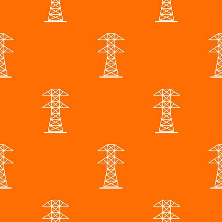 High voltage tower pattern repeat seamless in orange color for any design. Vector geometric illustration Illustration