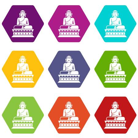 Buddha statue icon set many color hexahedron isolated on white vector illustration