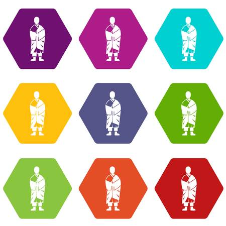 Buddhist monk icon set many color hexahedron isolated on white vector illustration Illustration