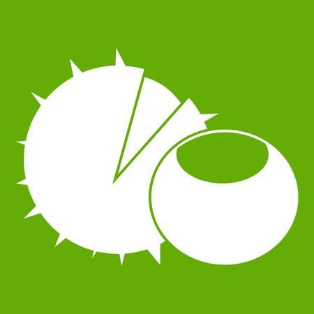 Hazelnuts icon white isolated on green background. Vector illustration