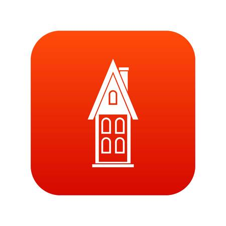 Two storey house with attic icon digital red for any design isolated on white vector illustration