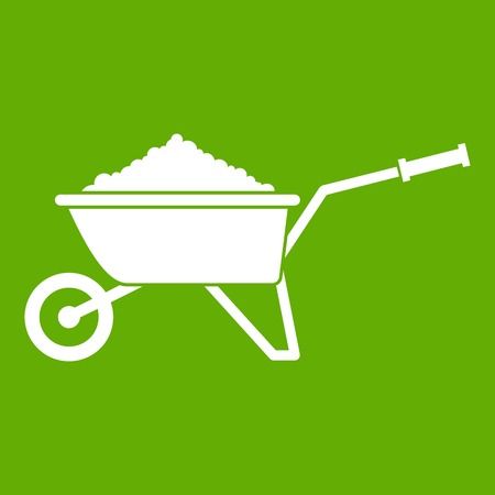 Wheelbarrow loaded with soil icon white isolated on green background. Vector illustration