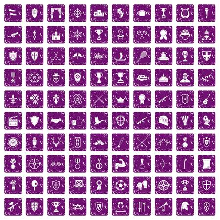 100 trophy and awards icons set in grunge style purple color isolated on white background vector illustration Illustration