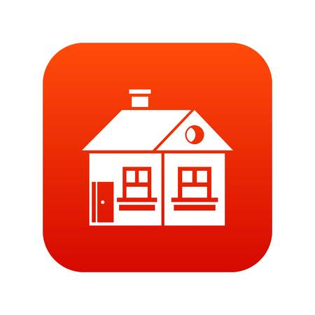 Large single-storey house icon digital red for any design isolated on white vector illustration
