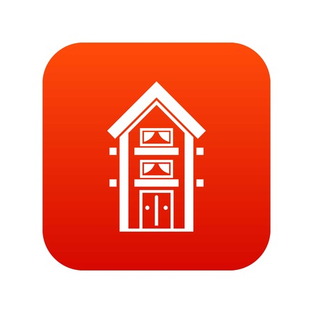 Two-storey house with balconies icon digital red for any design isolated on white vector illustration Illustration