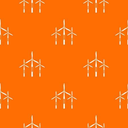 Wind generator turbines pattern repeat seamless in orange color for any design. Vector geometric illustration Illustration