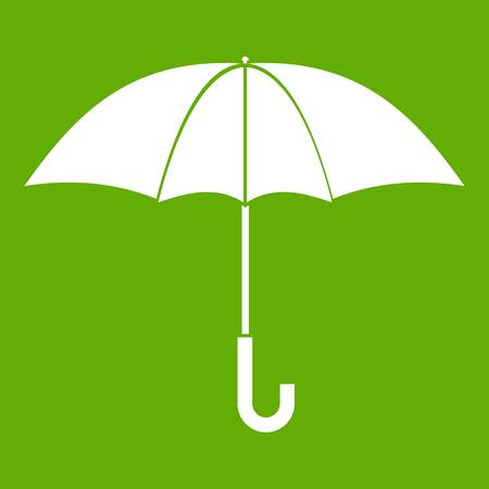 Umbrella icon white isolated on green background. Vector illustration