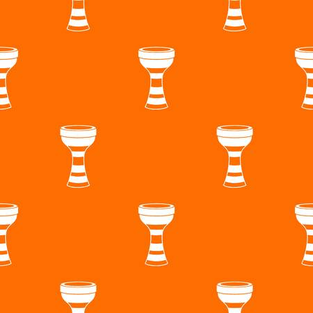 bass drum: African drum pattern repeat seamless in orange color for any design. Vector geometric illustration Illustration