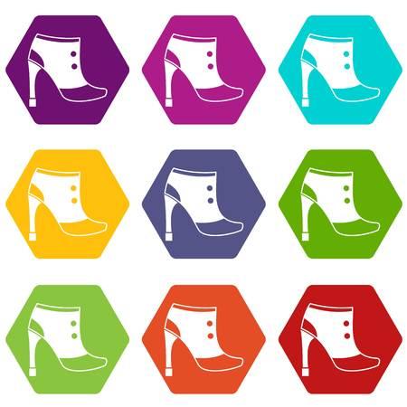Women boots icon set color hexahedron Illustration