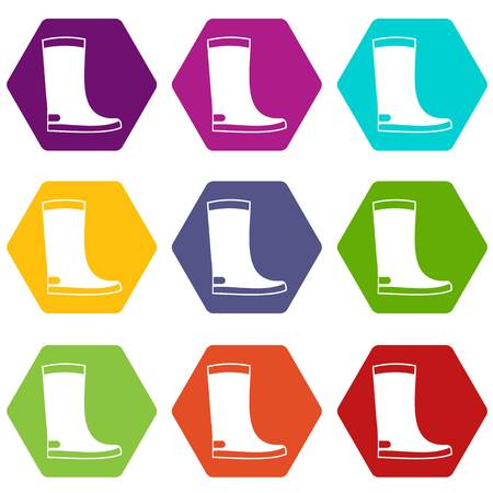 Rubber boots icon set color hexahedron