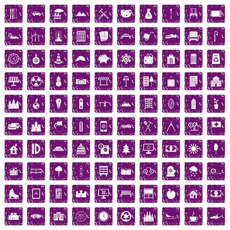 100 villa icons set grunge purple Ilustração