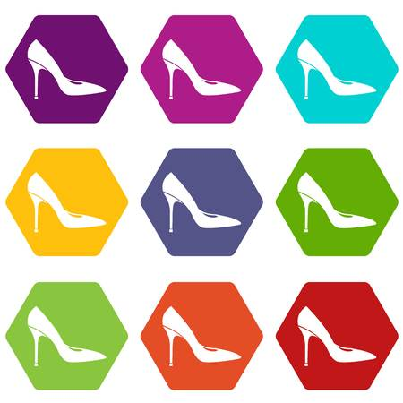 Women shoe with high heels icon set many color hexahedron isolated on white vector illustration Illustration