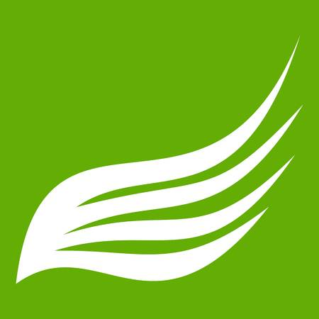Wing icon white isolated on green background. Vector illustration