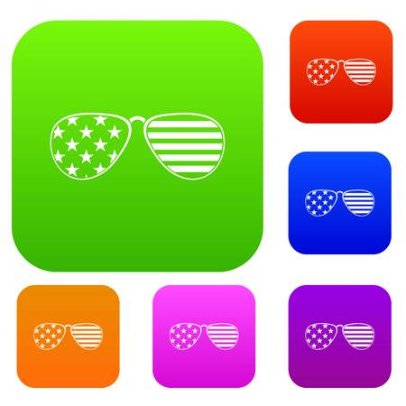 American glasses set icon color in flat style isolated on white. Collection sings vector illustration